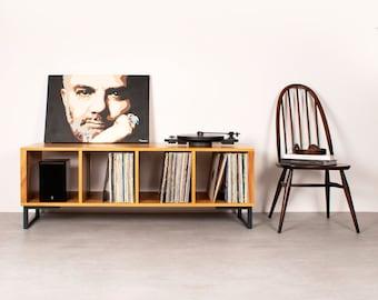 "Large Iroko Vinyl Storage Record Player Stand, Solid Iroko on Minimalist Square Legs ""Condor Vinyl Storage"""