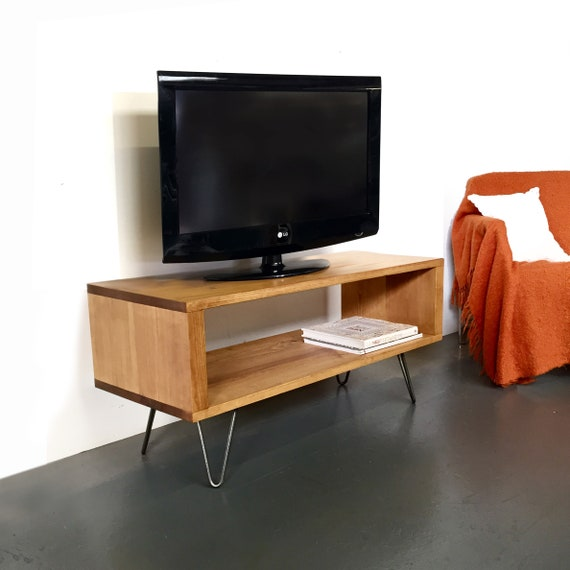 Coffee Table Or TV Stand Solid Wood On Mid Century Hairpin