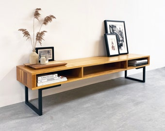 """Extra Wide Solid Iroko TV Stand Or Coffee Table with storage. Minimalist Low Design on Square Legs.  """"Marston Minimalist"""""""