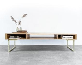 "Extra Wide Solid Oak TV Stand Or Coffee Table on Brass Square Legs. Minimalist Low Design ""Marston Minimalist Oak"""