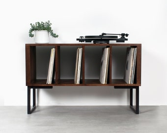 """Vinyl Storage Record Player Stand, Solid Dark Stained Ash on Minimalist Square Legs. """"Condor Ash Small"""""""