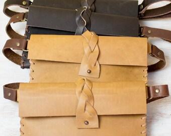 Waist Bag, Leather Belt Pouch, Belt Bag, Hip Bag, Fanny Pack in Tan or Black Leather