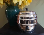 Chrome Ice Bucket Biscuit Barrel Tea Caddy 1950 39 s Mid Century Retro Art Deco Style Cookie Canister Vintage Kitchen Storage Home Bar Man Cave