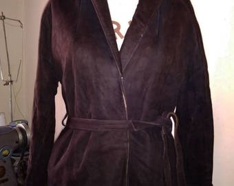 Belted 1940s rich chocolate brown suede jacket.