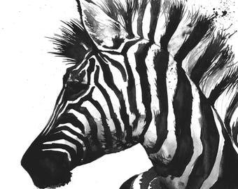 zebra watercolor painting - original watercolor painting - zebra nursery art - zebra wall decor - animal watercolor art - black and white