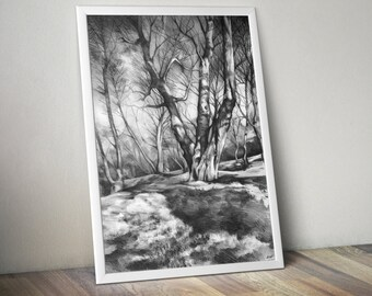 art PRINT of original pencil trees drawing by Katarzyna Kmiecik / nature drawing, pencil trees, pencil landscape, drawing print, atmospheric