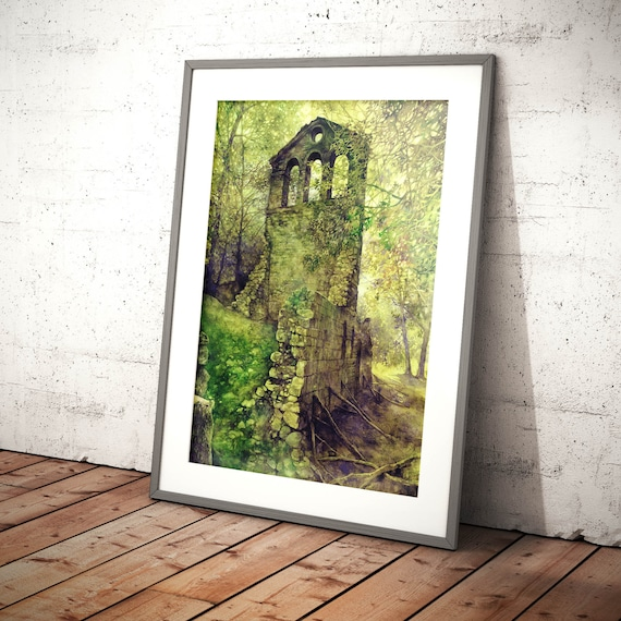Moss Forest Tree Home Decor Canvas Print A4 Size 210 x 297mm