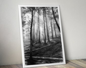 dark forest PRINT by Katarzyna Kmiecik / pencil forest, landscape print, trees drawing, pencil trees, woods sketch, pine trees drawing,