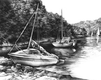 YACHTS original charcoal drawing by Katarzyna Kmiecik / black and white, charcoal landscape, yacht sailing art, boat sketch, realistic art