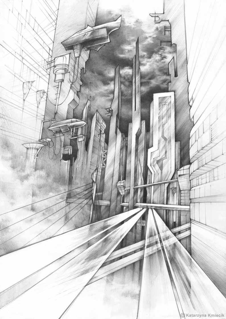 City of the future original art by katarzyna kmiecik pencil sketch futuristic vision future architecture science fiction art realistic