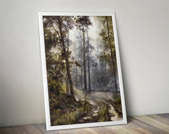 watercolor forest print - watercolor landscape print - watercolor trees print - wet forest path painting - forest watercolor art - moody art