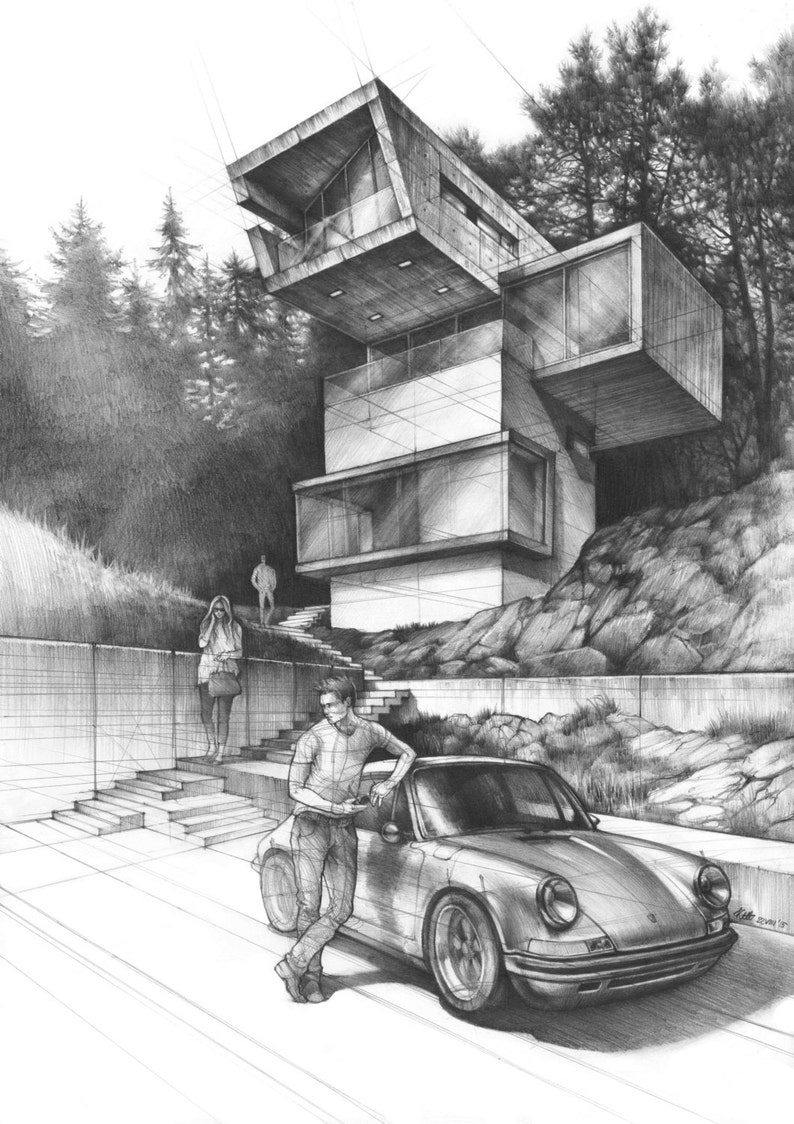 House Drawing Original Pencil Artwork Architecture Art Etsy
