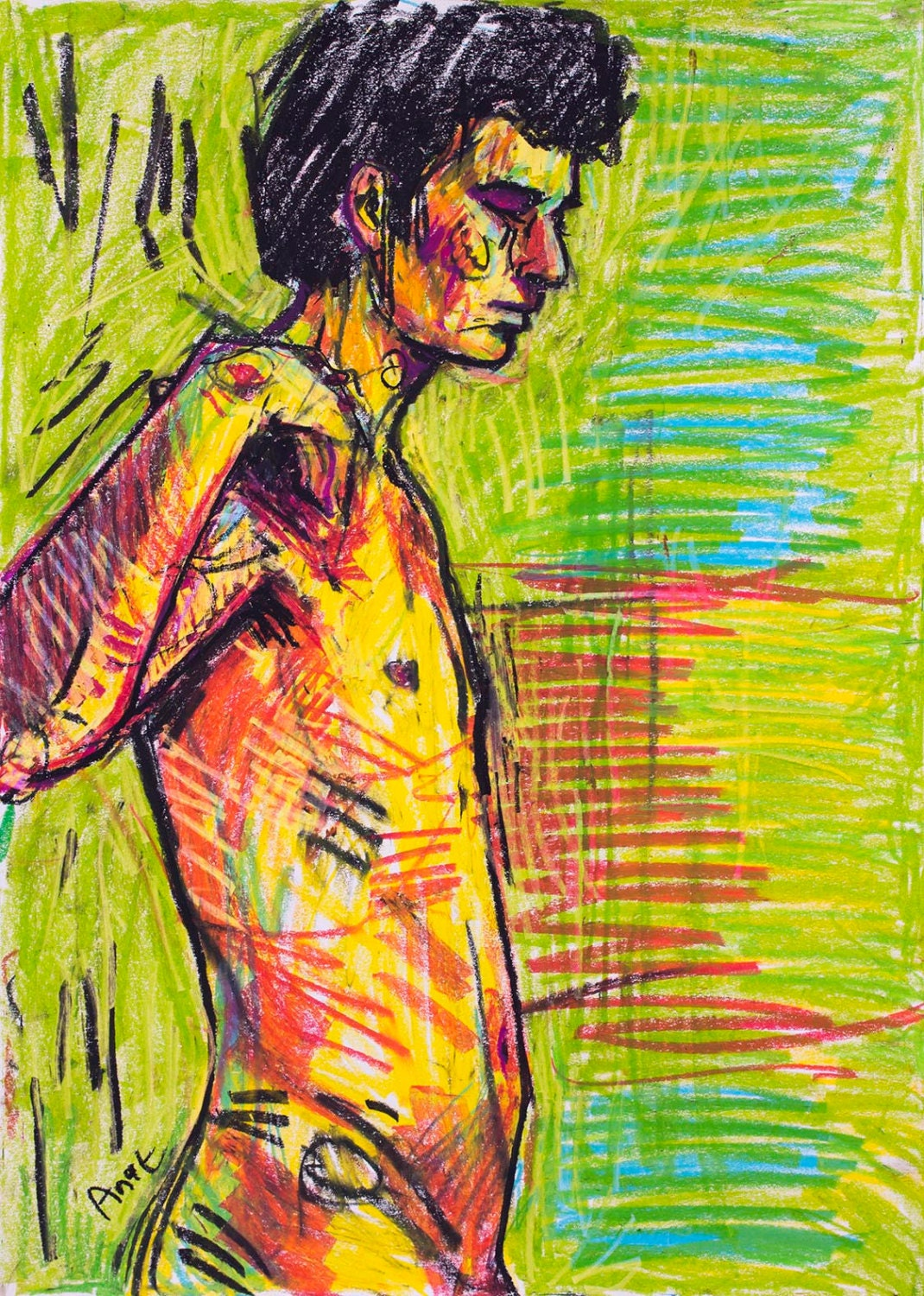 Colorful painting nude drawing pastel art naked paintings