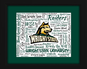 Wright State University 16x20 Art Piece - Beautifully matted and framed behind glass