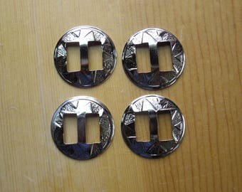 "Lot of 4 Slotted 1"" Conchos, Light Weight Metal, Nickel Plated, Chrome Colored (Shiny), Crafts"