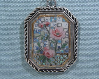 Mixed Media Pink Roses Mosaic Necklace