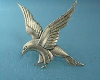 EAGLE PRE 1948 MEXICO STERLING SILVER FLYING SPEAD EAGLE PIN VINTAGE PRE
