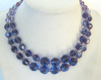Marvella Purple/Blue Double Strand Crystal Necklace
