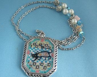 Black Cat Mosaic Necklace
