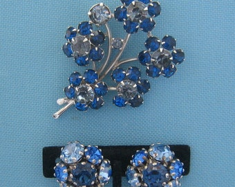 Eisenberg Blue Floral Spray Brooch and Complementary Vogue Clip Earrings