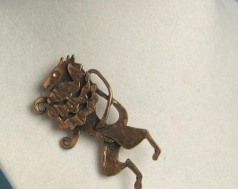 Copper Lion Rampant Brooch