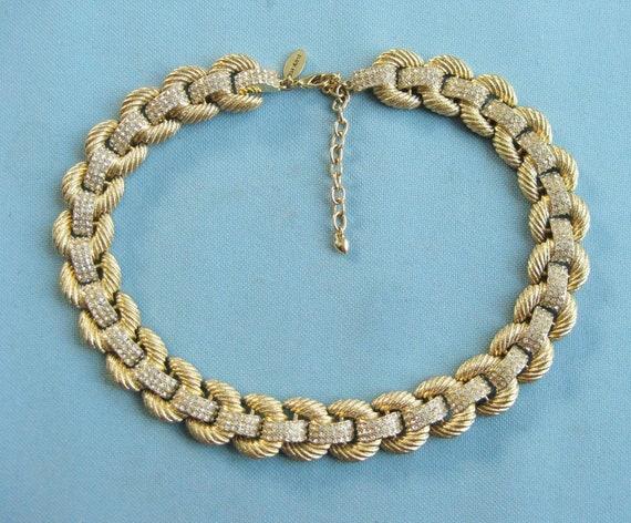 Scaasi Gold Tone and Rhinestone Ribbed Link Collar