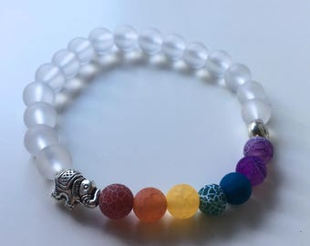 Natural Pearl Bracelet: multicolor agate