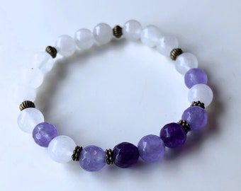 Natural Pearl Bracelet: Moonstone & Amethyst