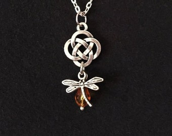 Outlander Jewelry Celtic Knot Cross Crystal Pendant Dragonfly in Amber Jamie Fraser Claire Fraser Scotland Scottish Irish Gaelic Necklace