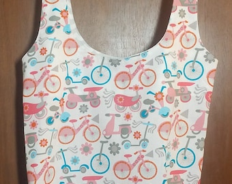 Shopping Bag Bicycles and Scooters-- Earth Friendly Bag - Foldable Shopping Bag - Market Tote Bag