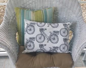 Pillow Sham Color-Me Vintage Bicycles - 100% Cotton - Coloring Pillow Cover - Travel Pillow Case