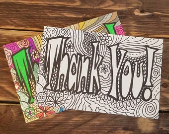Postcard Color-Me Thank You - Adult Coloring Postcard - Cardstock Coloring Image - Thank You Note - Gift Tag