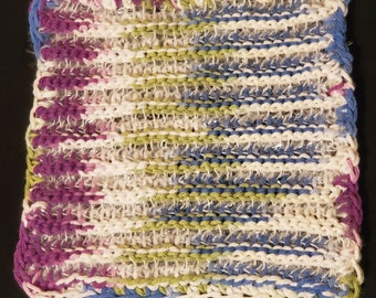 Extra Large Scrubcloth - Cool Spring Colors- Dishcloth - Cotton/Polyester Towel - Kitchen Towel