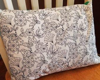 Pillow Sham Color-Me Butterflies and Flowers - 100% Cotton - Coloring Pillow Cover - Travel Pillow Case