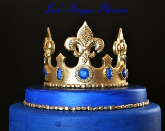 Fleur De Lis Crown With Colored Jewels For Royal Prince Party Cake