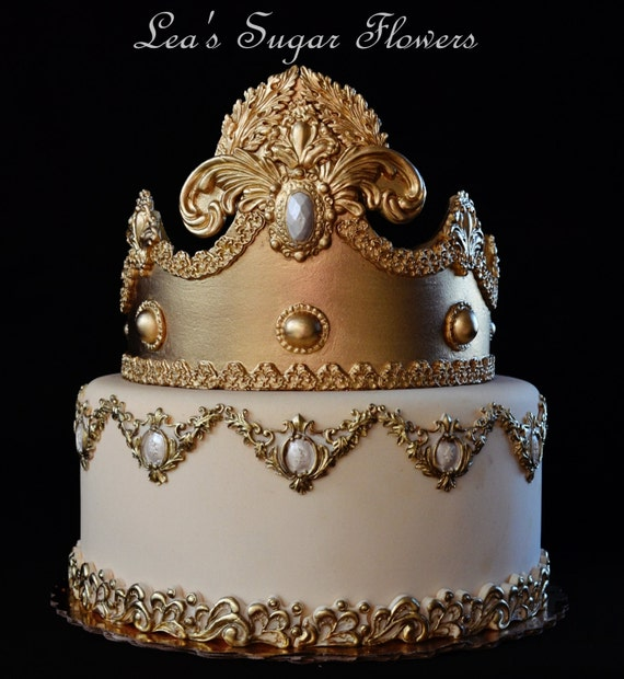 extra large 9 fondant crown for royal cake topper etsy
