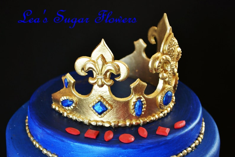 Prince set Fleur De Lis Crown with Colored Jewels  for Royal Prince Party Cake