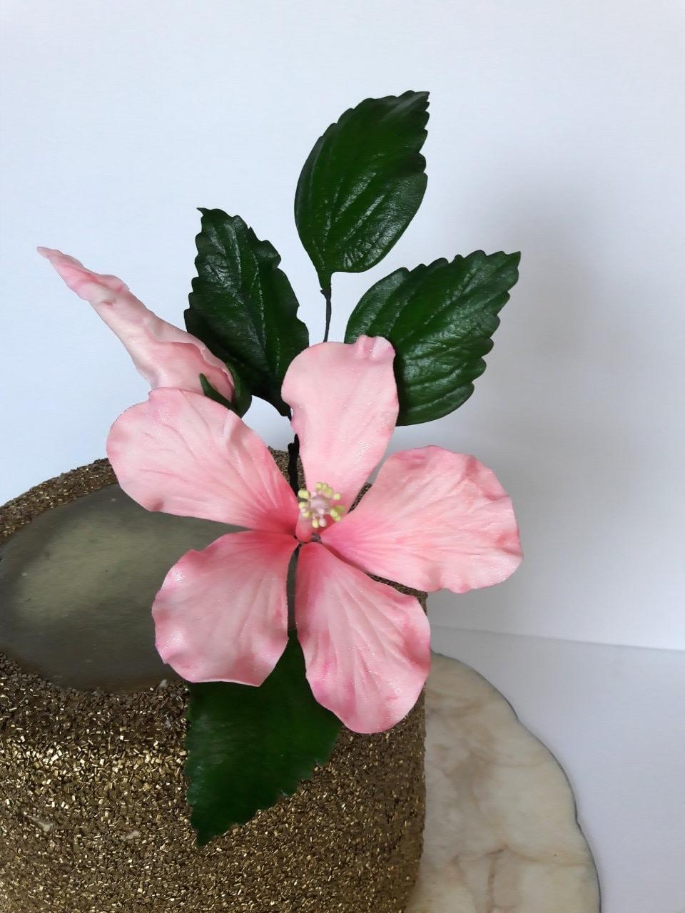 Tropical Sugar Gumpaste Hibiscus Flower For Wedding Cake Etsy