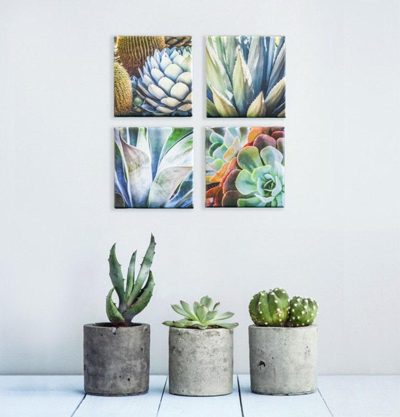 2b52b986859 Succulent Art Print Set Succulent Wall art Set of 4 Canvas