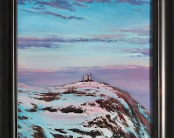 Signal Hill Cabot Tower at Sunset original oil painting