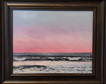 Original oil painting wave painting sunrise Point Lance beach