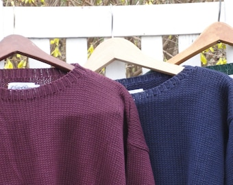 Burgundy Maroon Sweater, Navy Blue Cotton Crew Neck Pullover Jumper. FREE shipping in the United States. Sale!