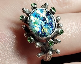 Ring Faux Opal Baroque MultiStone Vintage Czech Glass and Vintage Swarovski Crystal in Antiqued Silver Plated Brass