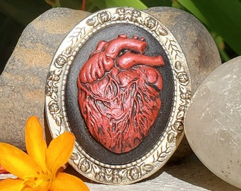 Brooch Anatomical Heart Cameo Portrait Large Oval - Your Choice of Color - Hand Painted 30x40mm Acrylic and Zinc Alloy