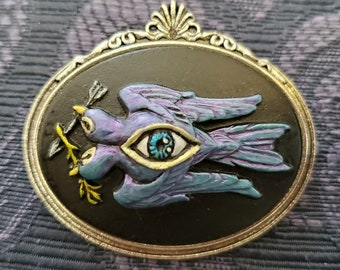 Brooch 2 Headed Bird Cameo Horizon Your Choice of Color Hand Painted Acrylic 30x40mm in Zinc Alloy