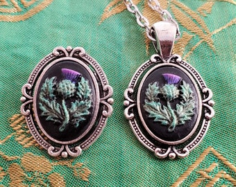 Brooch and Pendant Set Dinah Scottish Thistle Acrylic 13x18mm Hand-Painted Cameos in Antiqued Silver Color Zinc Alloy