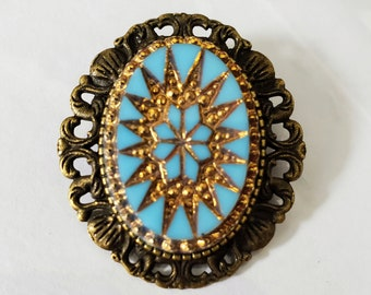 Brooch-Pendant Versailles Antique Glass 18x25mm Turquoise and Gold in Zinc Alloy You Choose Metal Color