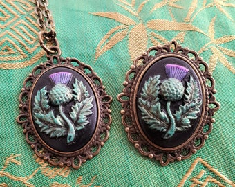 Brooch and Pendant Set Romance Scottish Thistle Acrylic 18x25mm Hand-Painted Cameos in Antiqued Bronze Color Zinc Alloy
