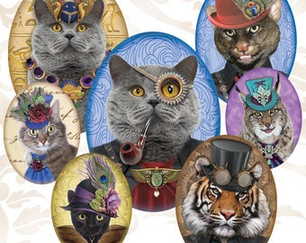 Octopunx Steampunk Cats 2 Oval 30x40mm 22x30mm 18x25mm Digital Collage Sheets 36 Designs