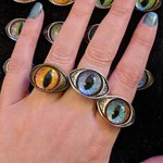 Octopunx Eye Ring - Hand Painted Glass in Bronze or Silver Plated Alloy - Semi Adjustable from size 8
